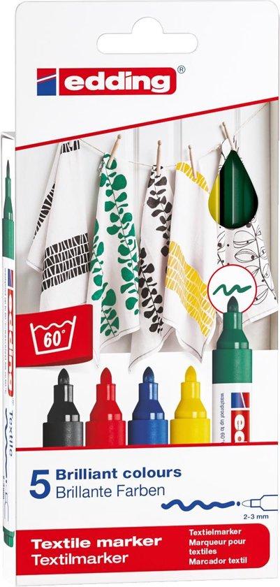 Afbeelding van Edding 4500 Textielmarker Set van 5 Assorti