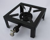 Wokbrander 25x25cm met slang en drukregelaar / gasbrander / camping gasstel - Zwart