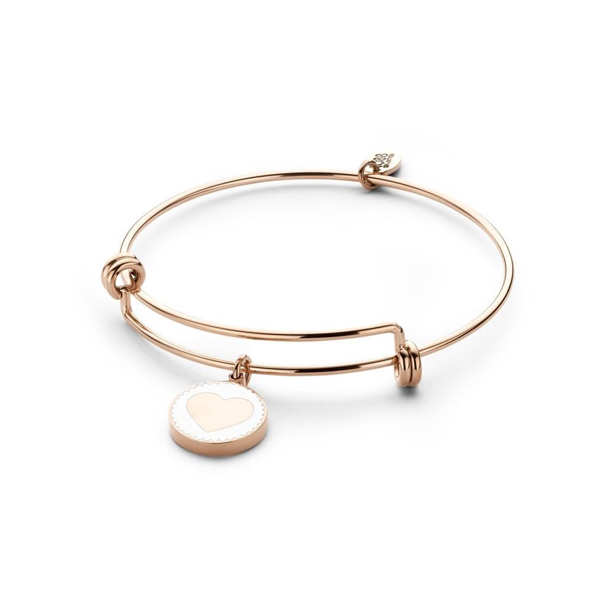 CO88 Collection Majestic 8CB 90123 Stalen Armband met Hangers - Hart - One-size - Rosékleurig / Wit