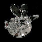 Kristal glas vlinder met bloem op een ronde spiegel 7x8x5cm Perfect en exquise kristal glas (van top k9 kristal glas materiaal )ambachtelijk handgemaakt.