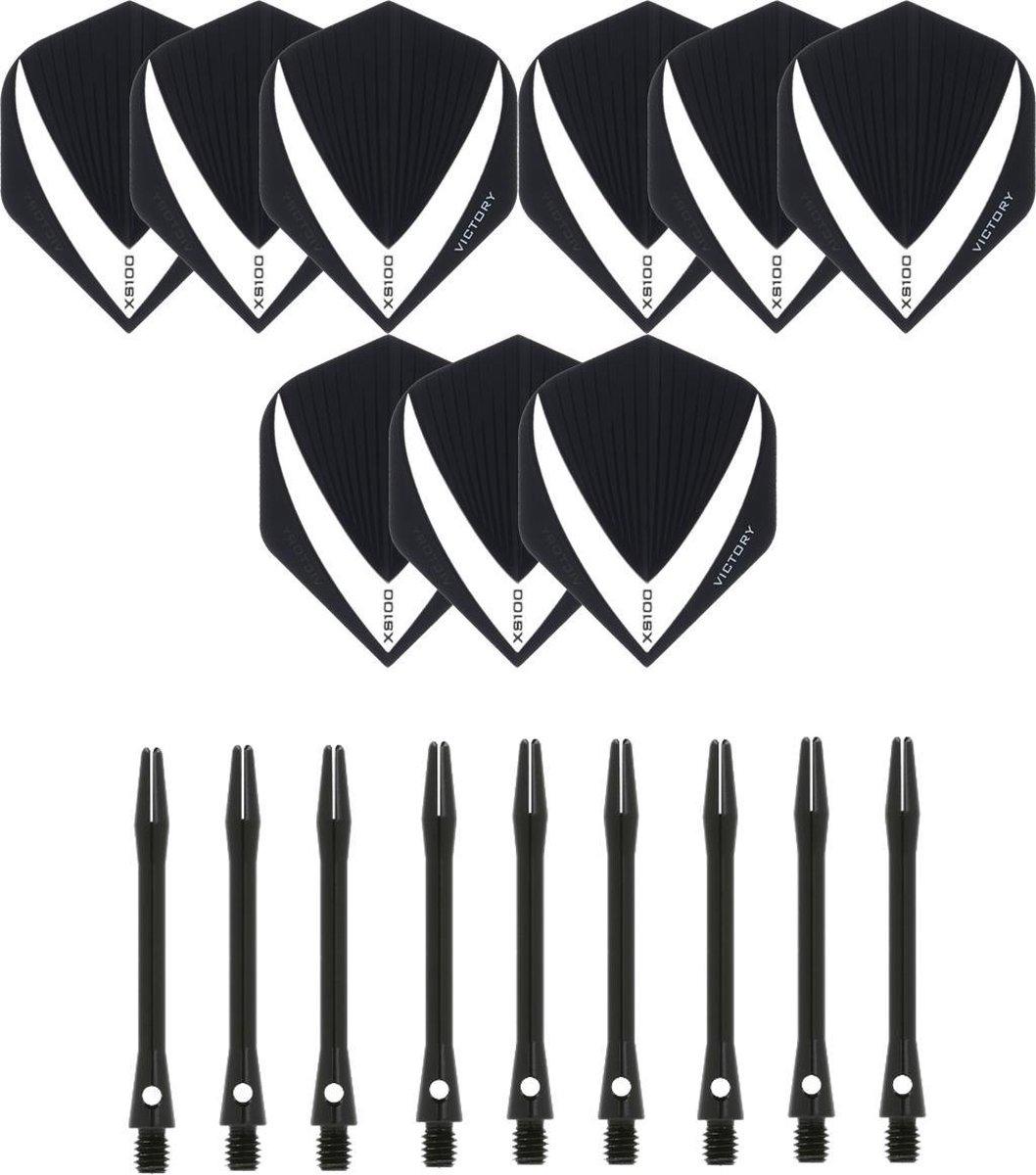 3 sets (9 stuks) Super Sterke - Wit/Clear - Vista-X - darts flights - inclusief 3 sets (9 stuks) - medium - Aluminium - zwart - darts shafts