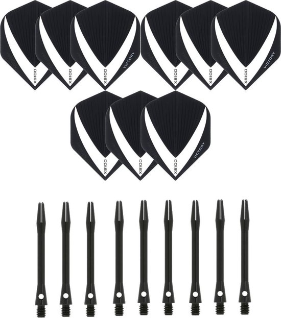 3 sets (9 stuks) Super Sterke – Wit/Clear - Vista-X – darts flights – inclusief 3 sets (9 stuks) - medium - Aluminium - zwart - darts shafts