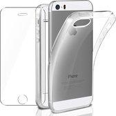 iPhone 5 / 5C / 5S / SE Hoesje - Soft TPU Siliconen Case & 2X Tempered Glas Combi - Transparant