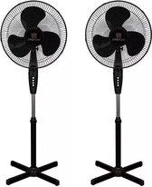 Kingcool - statiefventilator - 2 stuks - zwart - 40 cm - staand - staande ventilator