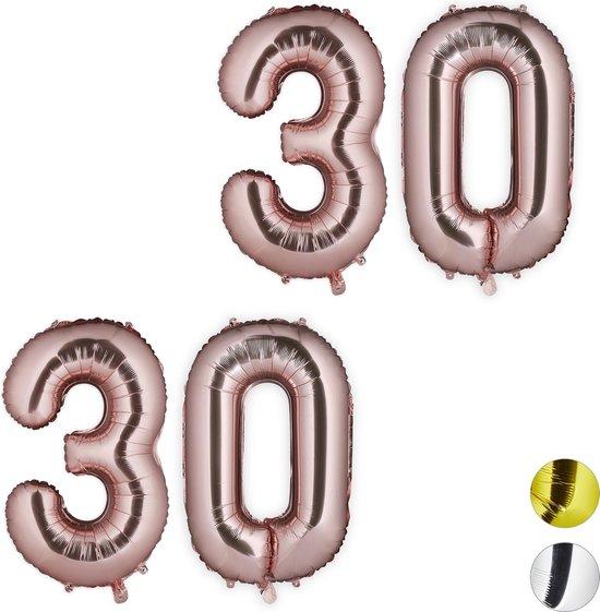 relaxdays 2x folie ballon cijfer 30 - XXL cijferballon - getal - verjaardag - rosegoud