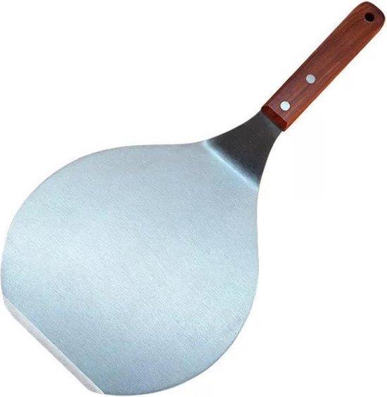 Afbeelding van Pizzaschep RVS Rond voor BBQ of Oven - Taartschepje - houten handvat
