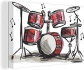 Illustratie van een tekening van een drumstel 180x120 cm - Foto print op Canvas schilderij (Wanddecoratie woonkamer / slaapkamer) XXL / Groot formaat!