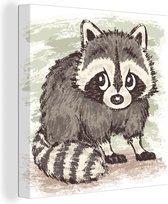 Illustratie van een getekende wasbeer 20x20 cm - klein - Foto print op Canvas schilderij (Wanddecoratie woonkamer / slaapkamer)