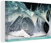 Witte kleuren van de marmeren muren in de Marble Caves Canvas 140x90 cm - Foto print op Canvas schilderij (Wanddecoratie woonkamer / slaapkamer)