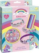 Unicorn schuifarmbandjes - 18 delige set met 3 eenhoorn armbandjes en schuifbedels