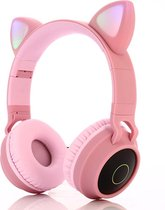 Kinder hoofdtelefoon - Draadloze koptelefoon Bluetooth met led kattenoortjes roze