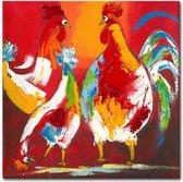 Schilderij - Vrolijke kippen II