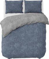 Ambianzz Bedding - Washcotton - Dekbedovertrek - Polykatoen - Lits-jumeaux - 240x200/220 cm - Blauw, Grijs