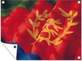 De vlag van Eritrea tuinposter 80x60 cm - Tuindoek / Buitencanvas / Schilderijen voor buiten (tuin decoratie)