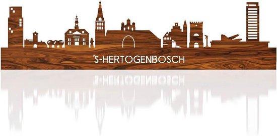 Skyline Den Bosch Palissander hout  - 80 cm - Woondecoratie design - Wanddecoratie met LED verlichting
