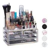 relaxdays make-up organizer - tweedelig - cosmetica opbergdoos + lippenstift houder Goud-strepen