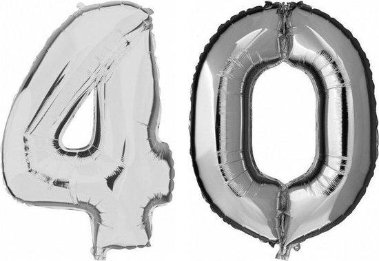40 jaar zilveren folie ballonnen 88 cm leeftijd/cijfer - Leeftijdsartikelen 40e verjaardag versiering - Heliumballonnen