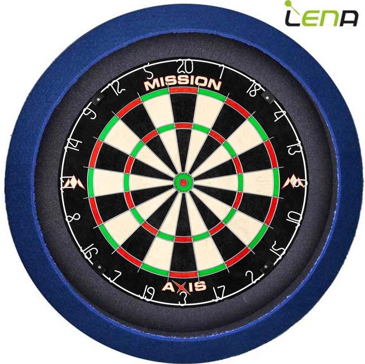 Dartbord met Verlichting Voordeelpakket (Blauw) + Mission Axis + Lena Basic