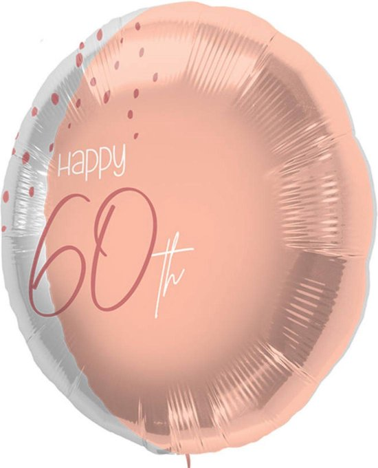 Folieballon - 60 jaar - Luxe - Roze, roségoud, transparant - 45cm - Zonder vulling