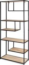 Lifa Living - Wandrek van MDF en Metaal - Zwart en Hout - 85 x 35 x 175 cm - Open Wandkast - 7 planken