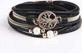 Armband Dames Rosegoud- Leren Wikkelarmband Galeara design Rosekleurig Zwart Dames Levensboom 20,5cm - Galeara design