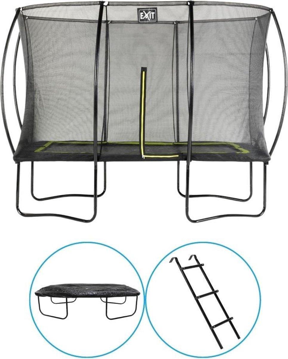 EXIT Toys - Trampoline Met Veiligheidsnet - Op Poten - Silhouette - Rechthoekig - 214x305cm - Zwart - Inclusief Ladder en Afdekhoes