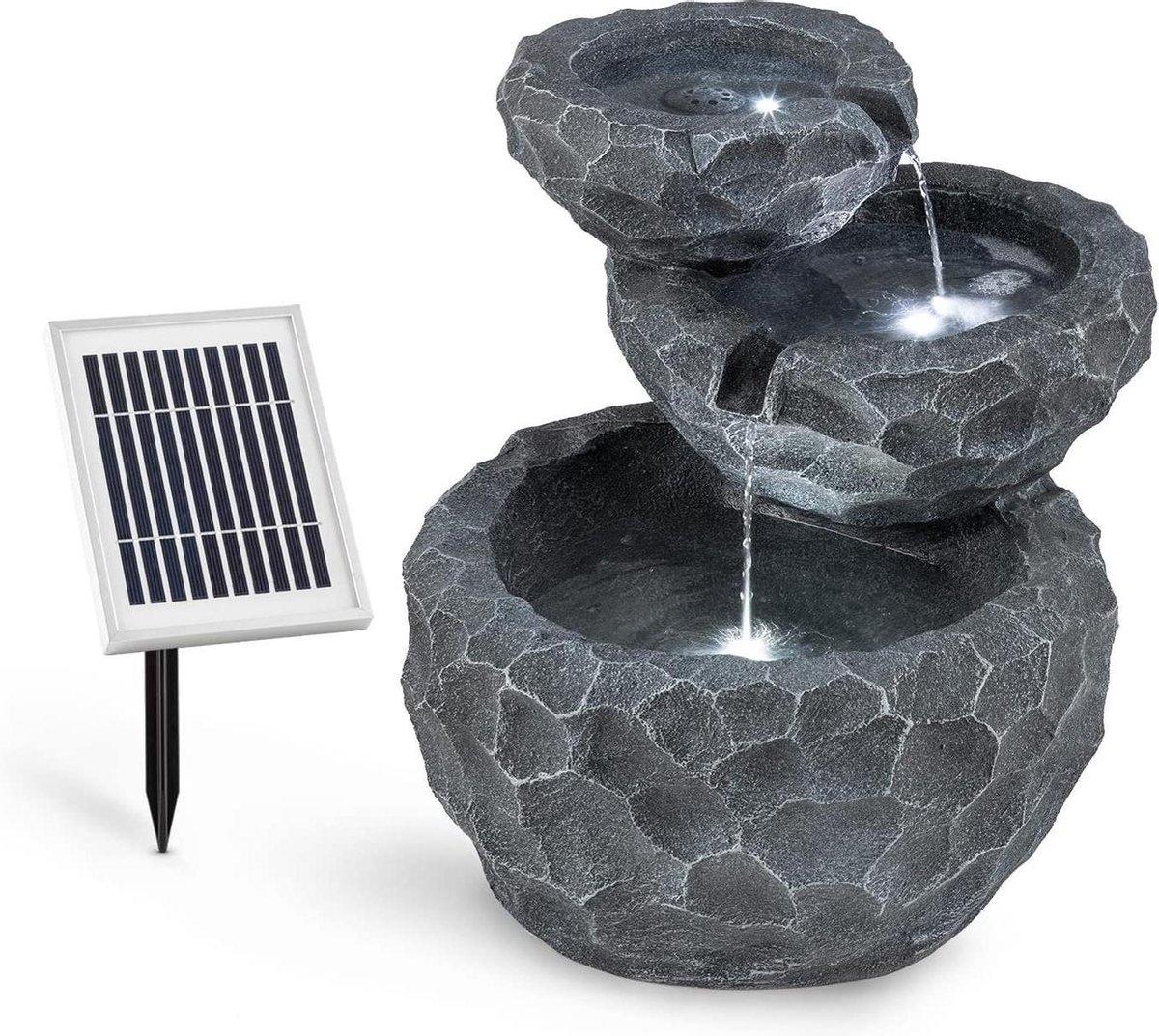 tuinfontein cascade fontein binnenfontein (werkt op batterijen, 2 watt zonnepaneel, 3 leds voor verlichting) grijs, waterfontein, tuinfontein, waterfontein buiten