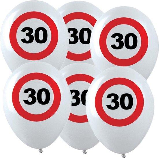 48x Leeftijd verjaardag ballonnen met 30 jaar stopbord opdruk 28 cm