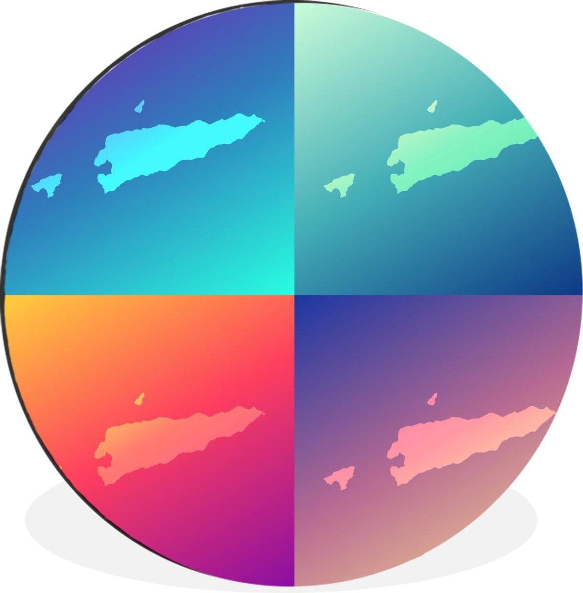 Wandcirkel Oost-Timor illustratie aluminium -illustratie van vier kleurrijke kaarten van Oost-Timor -   30 cm - rond schilderij - fotoprint op aluminium / dibond / muurcirkel / wooncirkel / tuincirkel (wanddecoratie)