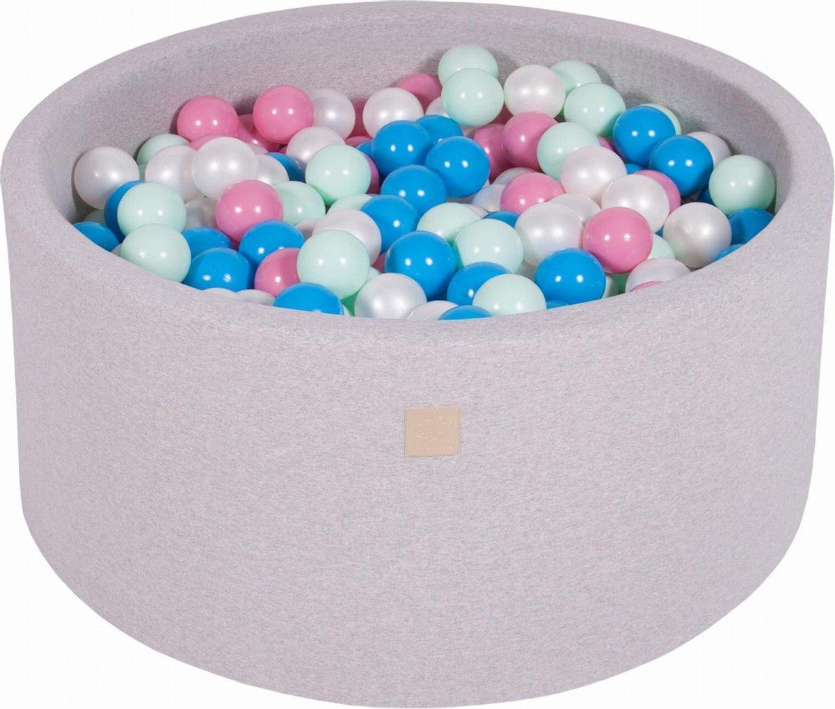 Ronde Ballenbak set incl 300 ballen 90x40cm - Licht Grijs: Blauw, Parel Wit, Licht Roze, Mint