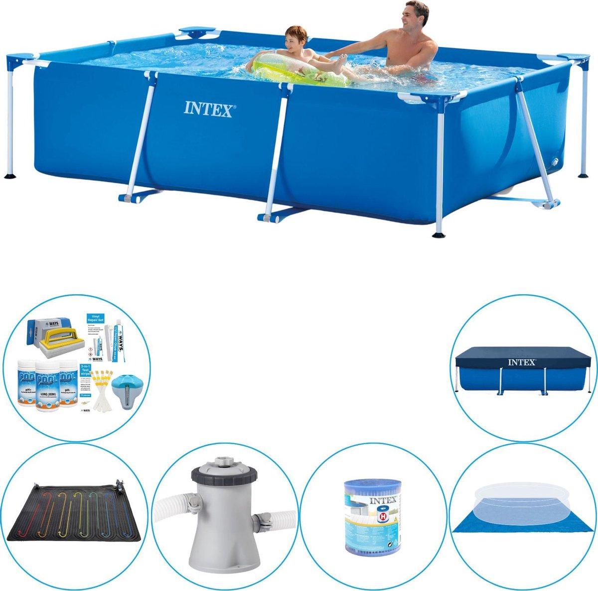 Intex Frame Pool Rechthoekig 260x160x65 cm - Zwembad Plus Accessoires