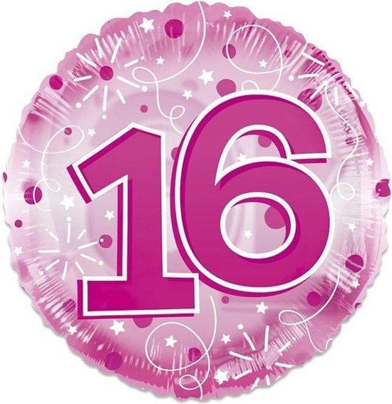 Witbaard Folieballon Clear 16 Jaar Junior 61 Cm Roze