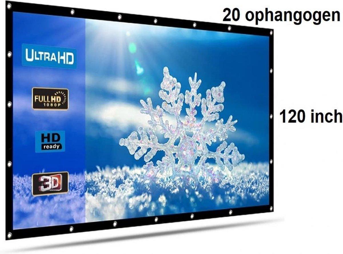 Beamer scherm projectiescherm 120 inch 16:9, lichtgewicht 385 gram met 20 ophangogen, projectie-doek