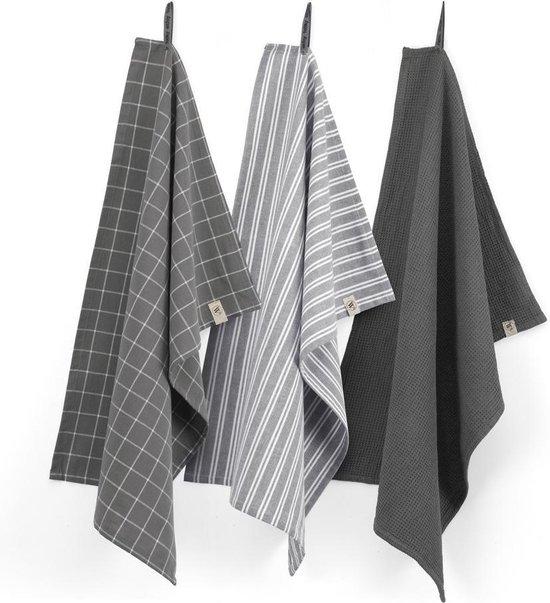 Walra Keukenset Dry w. Cubes Uni, Stripes & Blocks - 3x 50x70 - 100% Katoen - Off Black