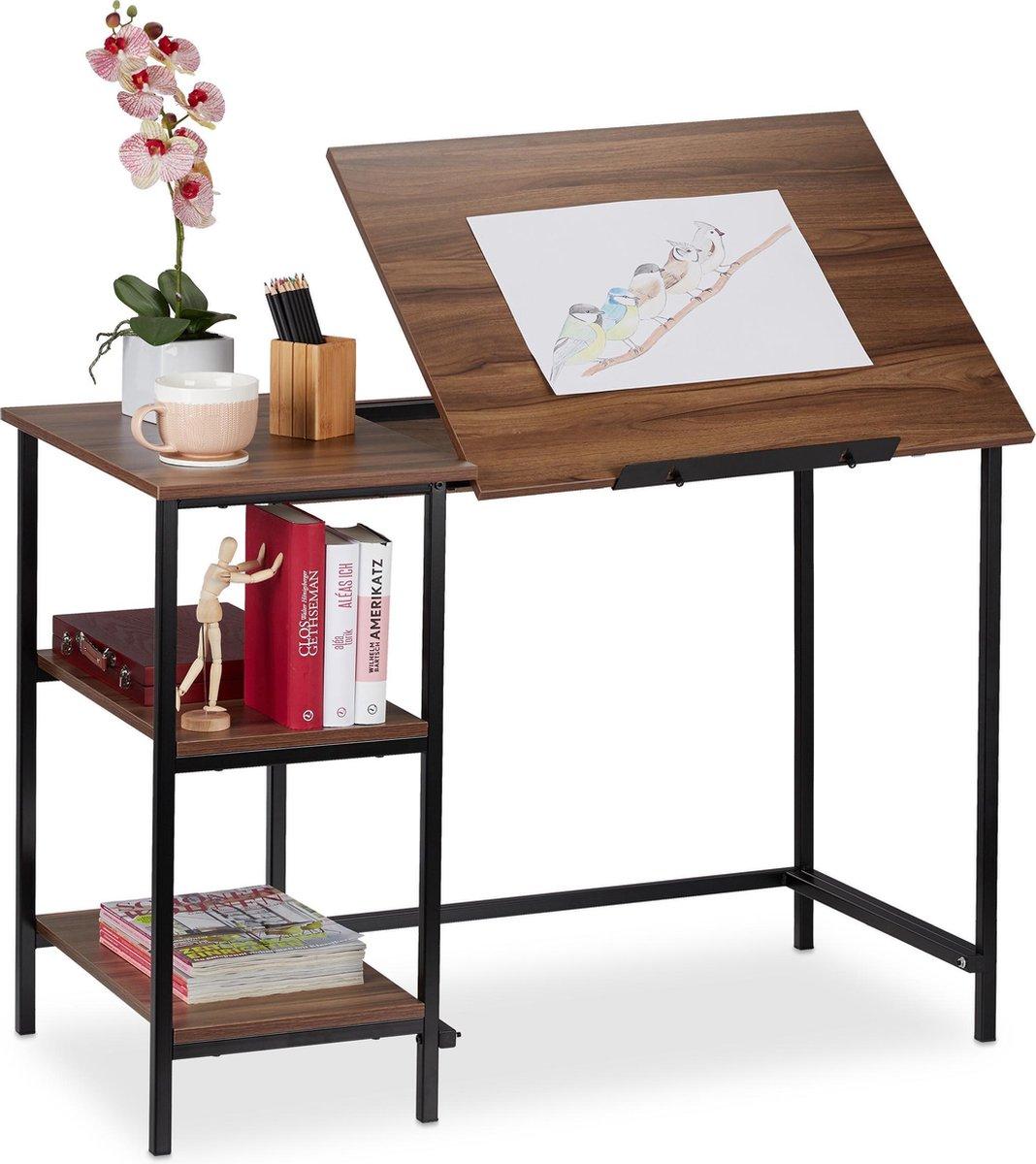 relaxdays bureau kantelbaar - tekentafel - computertafel - laptoptafel - 3 vakken Hout / zwart
