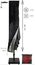 CUHOC Redlabel parasolhoes voor zweefparasol - 230x50x58 cm - met Rits, Stok en Trekkoord incl. Stopper- Zwarte Parasolhoes