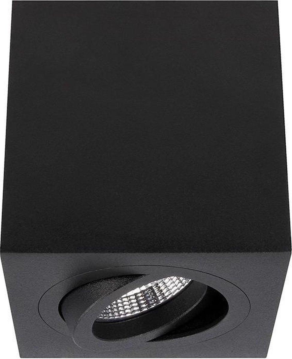 Palermo - Opbouwspot Zwart Vierkant - Kantelbaar - 90x90mm - 1 Lichtpunt - YPHIX