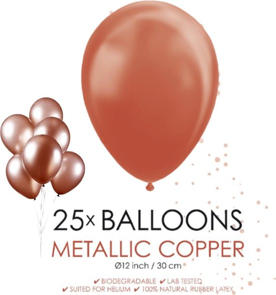 Globos Ballonnen 30,5 Cm Latex Koper Metallic 25 Stuks