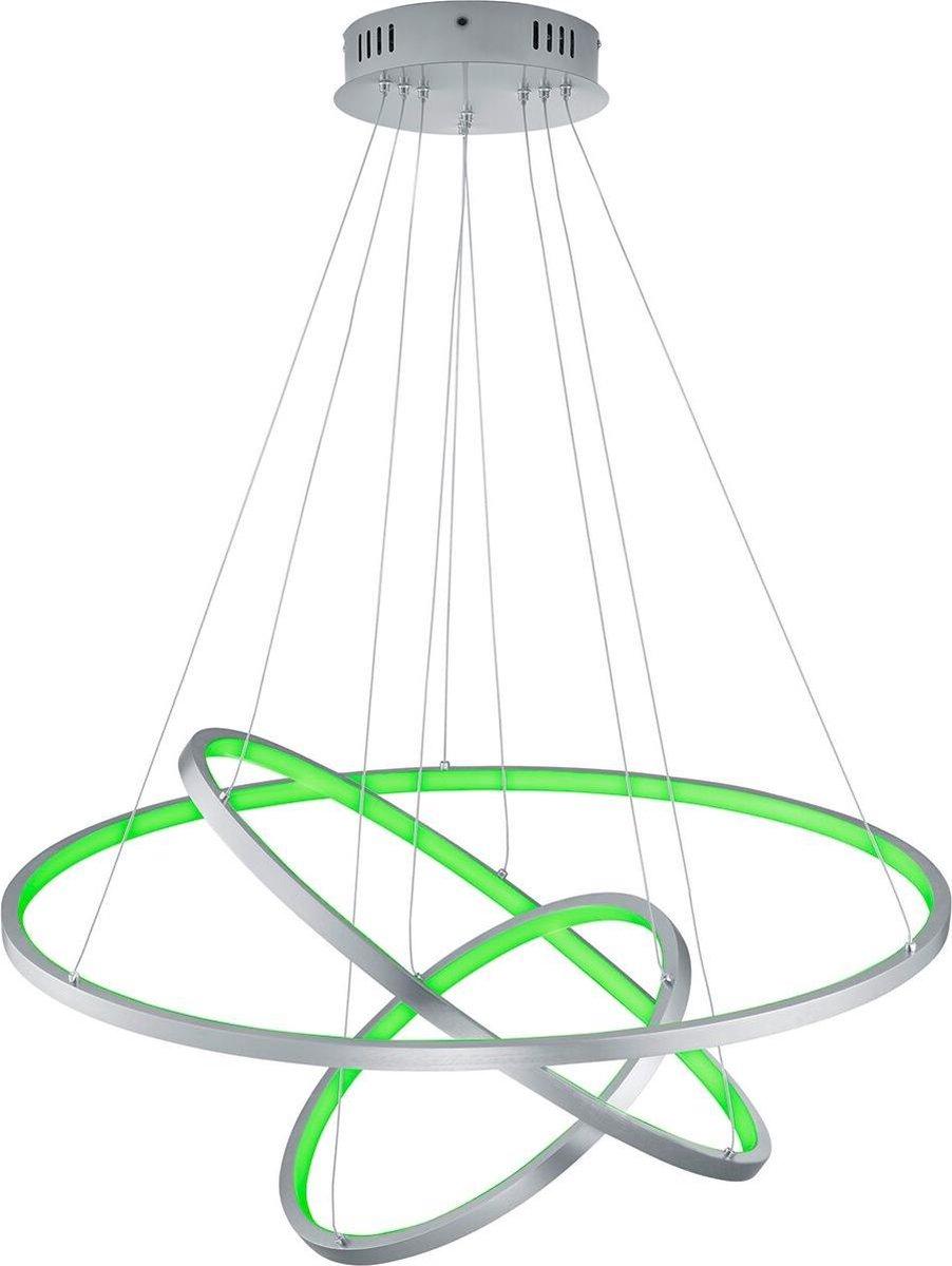 LED Hanglamp WiZ - Smart LED - Hangverlichting - Iona Noraan - 80W - Aanpasbare Kleur - RGBW - Rond - Mat Nikkel - Aluminium
