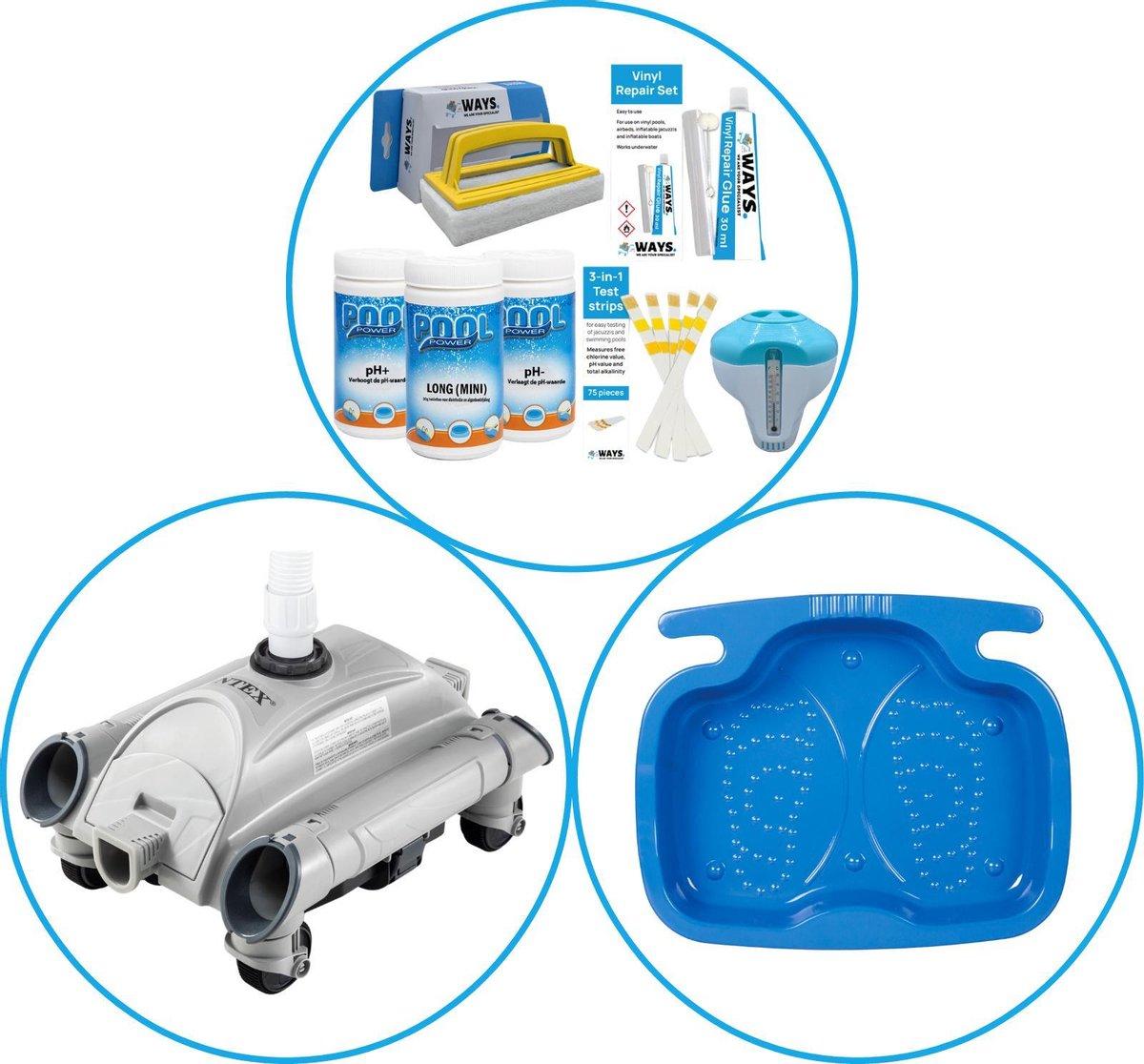 Zwembad Accessoirepakket 3-delig - WAYS Onderhoudspakket & Automatische Zwembad stofzuiger & Voetenbad