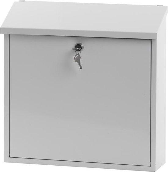 Stalen brievenbus wit - 11,5x37x37 cm - Stalen brievenbus