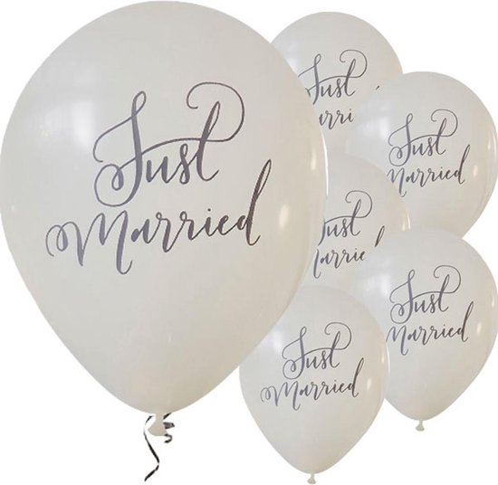 Ballonnen 'Just Married' Wit - 10 stuks