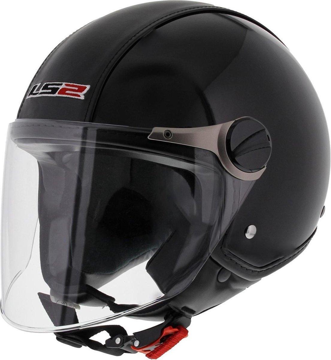 LS2 OF560 Beetle Jethelm - Motorhelm - Glans Zwart - Maat XS