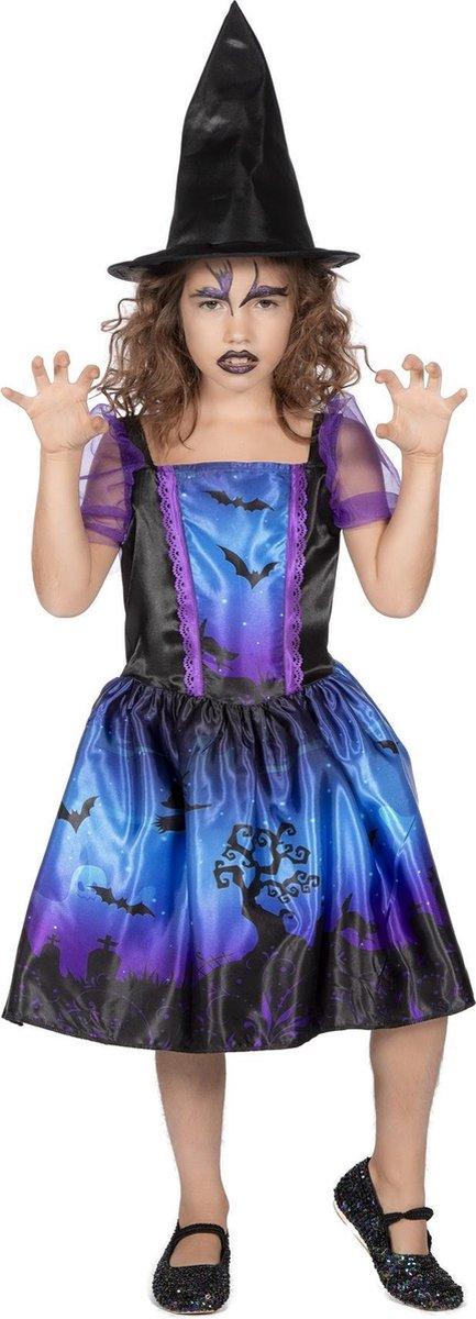 Halloweenjurkje blauw/paars met print multicolor