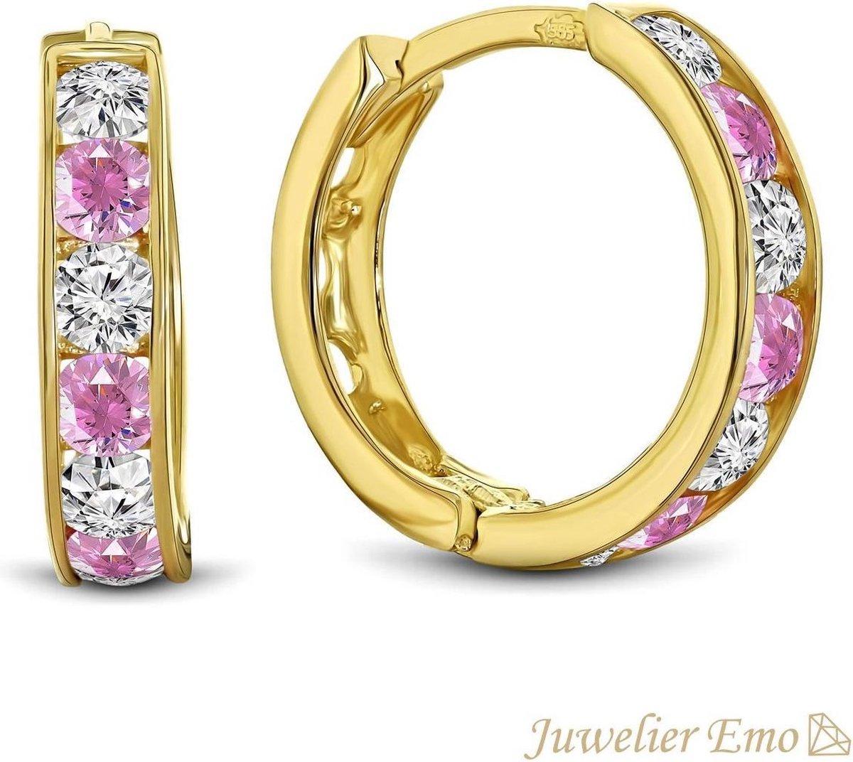 Juwelier Emo - 14 Karaat Gouden Kinderoorbellen meisje met Roze Zirkonia stenen - KIDS - 13 mm