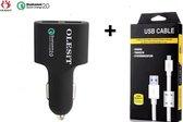 OLESIT 36W Qualcomm 2.0 Quick Charge USB Autolader - Fast Charging - Gecertificeerde 5V / 9V / 12V Lader Smartphone / Tablet lader + 1 Meter Olesit Micro USB Kabel Zwart of Wit