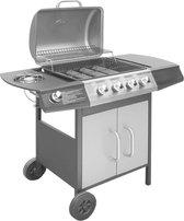 vidaXL Gasbarbecue - 5 branders - Zwart en Zilver