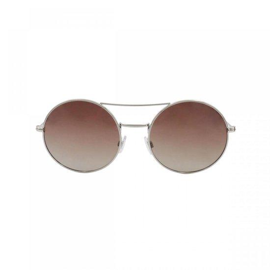 Ocean Sunglasses - Zonnebril - Unisex - 10-1_CIRCLE_SHINYSILVER-BROWN - Ocean Sunglasses