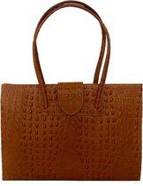 TOUTESTBELLE - Grote luxe leren zakelijke tas met veel vakken A4 tablet - Shopper - Dames - Cognac Bruin