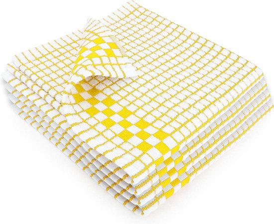 Fecido Classic Kitchen Tea Towels with Hanging Loop - Set of 4, Yellow